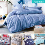 Pure One 台灣製 超厚美肌磨毛 - 單人床包枕套二件組-多款任選