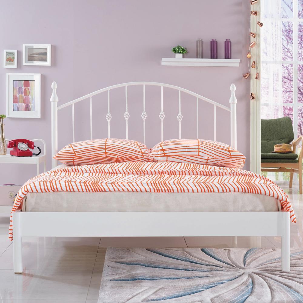 AS-朵勒絲簡約5尺雙人白色鐵床台/床架