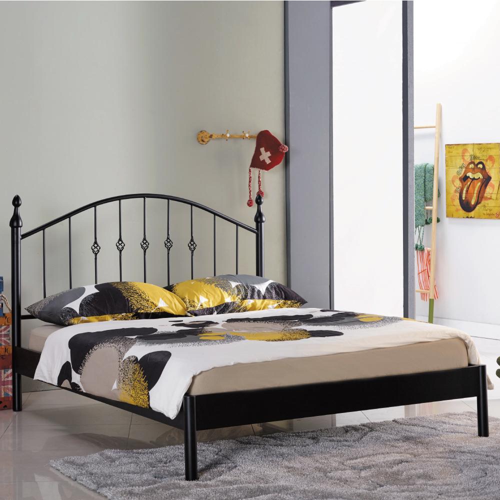AS-朵勒絲簡約5尺雙人黑色鐵床台/床架