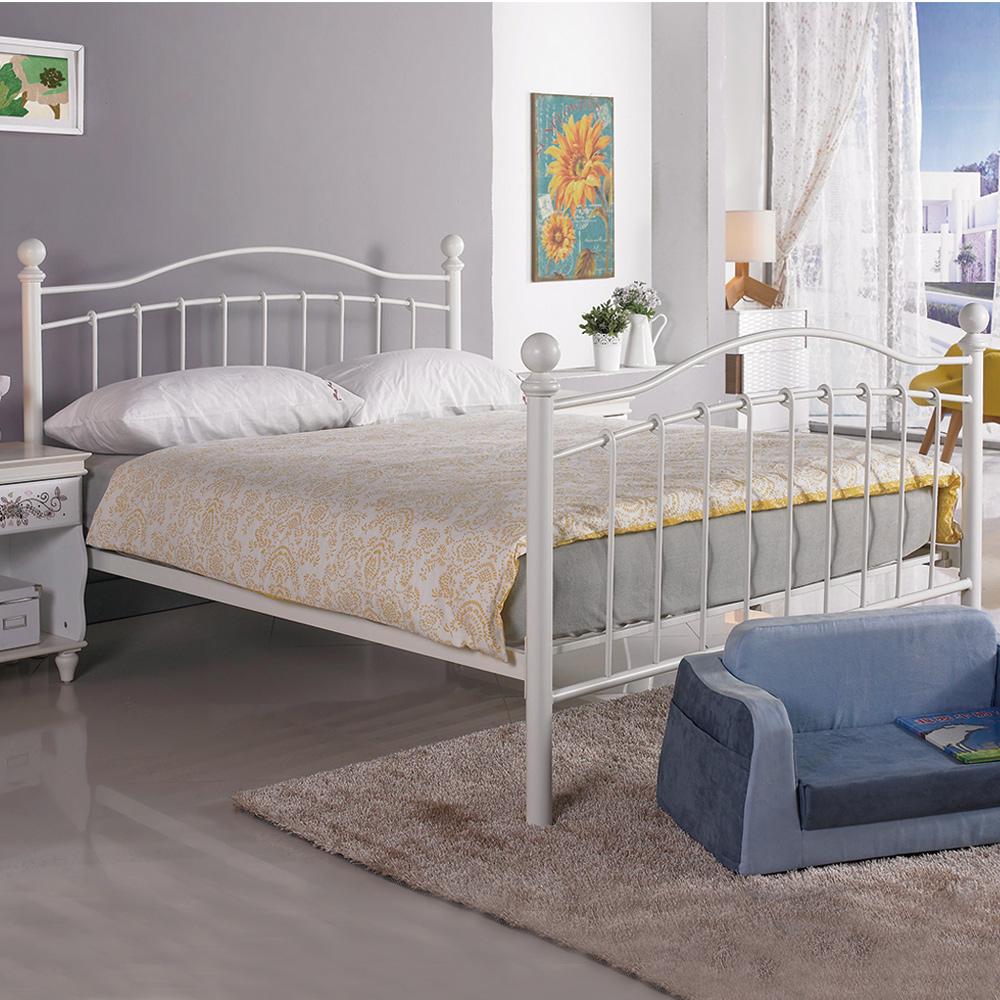AS-愛爾西5尺雙人白色鐵床台/床架