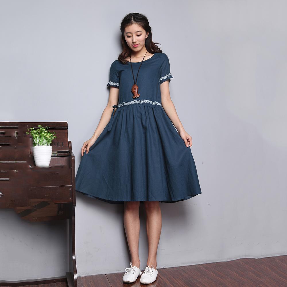 【Jisen】清新小時代類棉麻洋裝