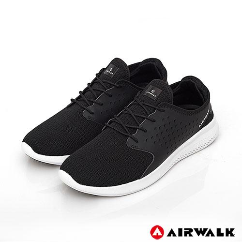 AIRWALK(男) - 迴力追風編織慢跑鞋-黑色