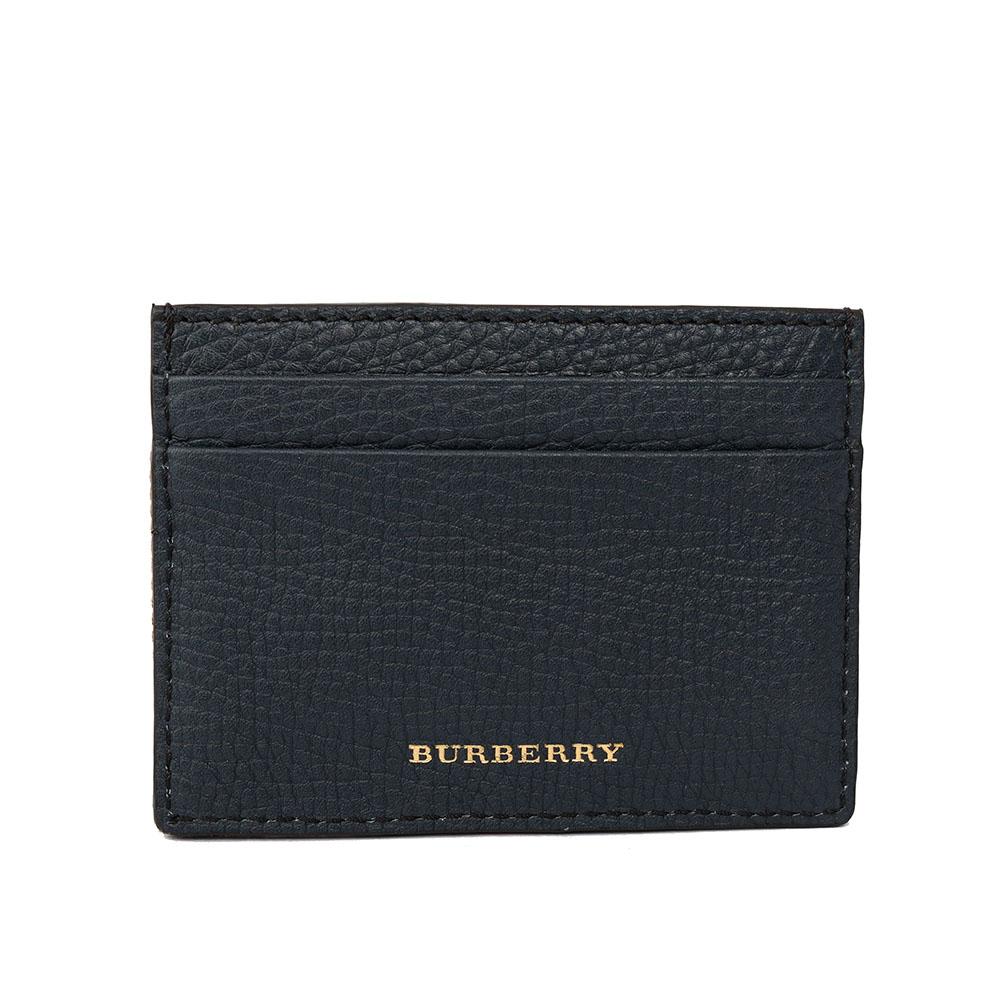 【BURBERRY】House格紋與粒面皮革卡片夾(霓彩藍)