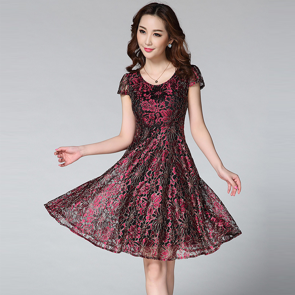 【Jisen】富麗金線蕾絲收腰洋裝
