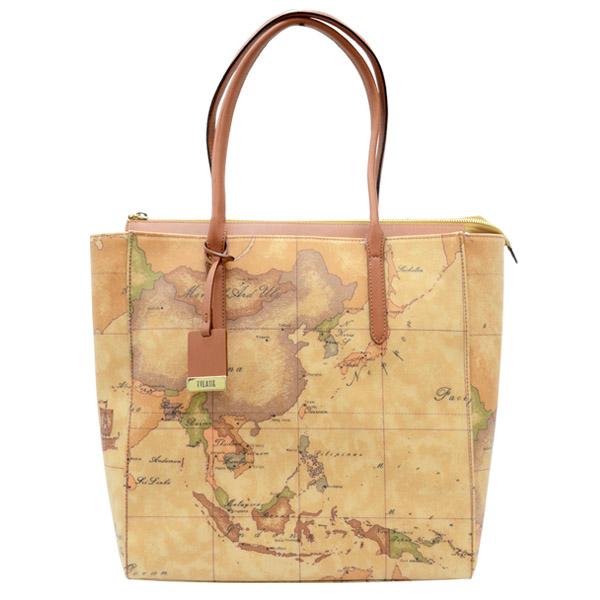 Alviero Martini 義大利地圖包 手提雙把 拉鍊 A4肩包(大)-地圖黃