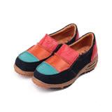 (女) ZOBR 牛皮拚色氣墊休閒鞋 藍彩 女鞋 鞋全家福