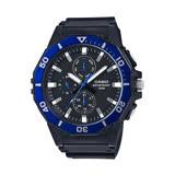 CASIO 卡西歐三環膠帶錶-黑面藍圈 / MRW-400H-2A (台灣公司貨全配盒裝)