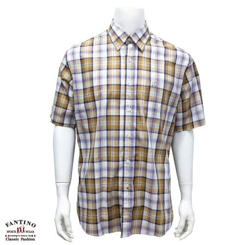 【FANTINO】男裝 奧地利進口純棉格紋襯衫 234548