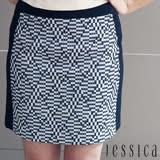 JESSICA - OL幾何圖案造型修身短裙