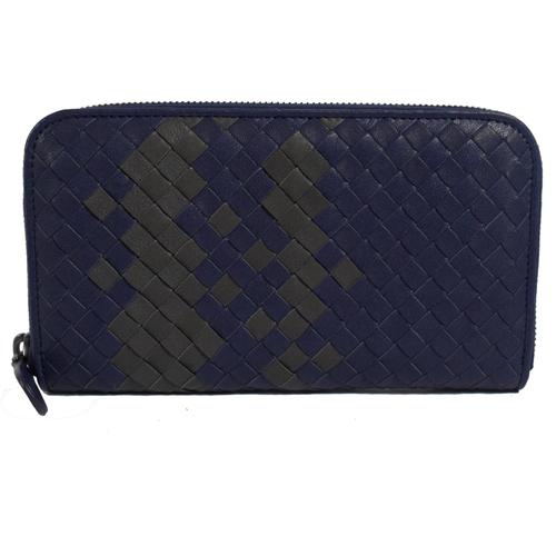 BOTTEGA VENETA 經典手工編織撞色小羊皮拉鍊長夾.紫藍