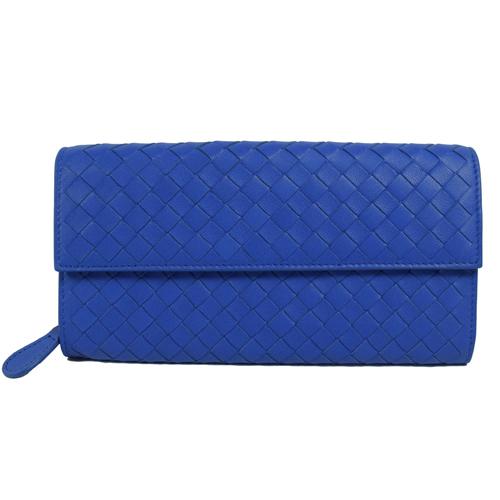 BOTTEGA VENETA 經典手工編織小羊皮扣式長夾.藍