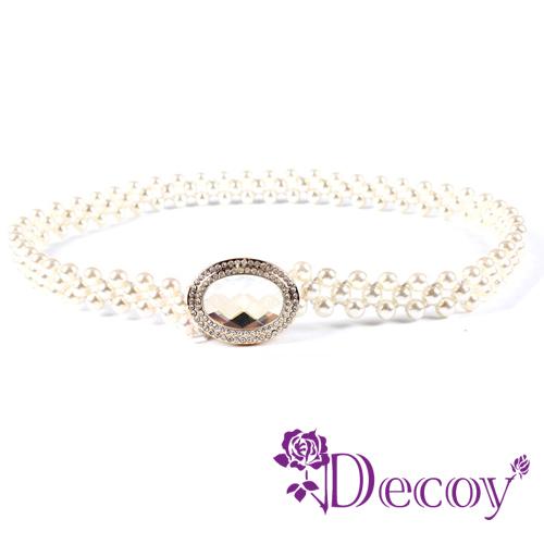 【Decoy】蛋型水晶*彈性編織珍珠腰封