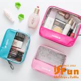 【iSFun】方格透視*防水化妝收納包