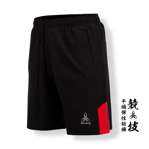 (男) HODARLA -競技平織彈性短褲-慢跑 路跑 台灣製 黑紅