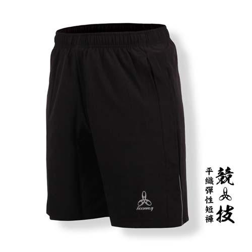 (男) HODARLA -競技平織彈性短褲-慢跑 路跑 台灣製 黑