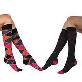 【摩達客】英國進口Pretty Polly 時尚虛線學院風格紋彈性棉襪及膝高筒襪超值組(一組兩雙不同款)