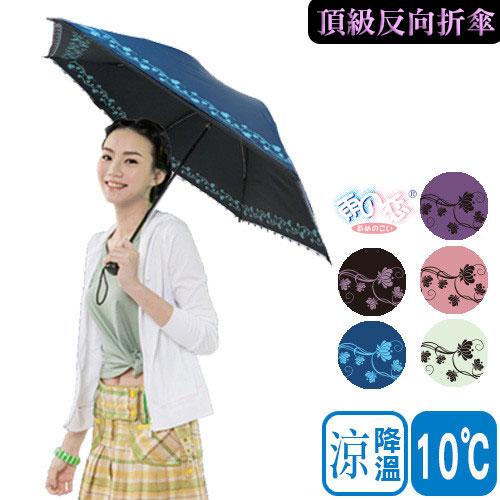 【日本雨之戀】 降溫 10℃ 黑蝴蝶骨-寶石花 [ 5色 ] -輕量/遮陽傘/雨傘/雨具/晴雨傘/UV/手開傘