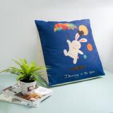 【收納職人】Zakka日系雜貨風手感棉麻織紋舒壓三角抱枕/靠枕/腿枕 (藍底高帽小兔)