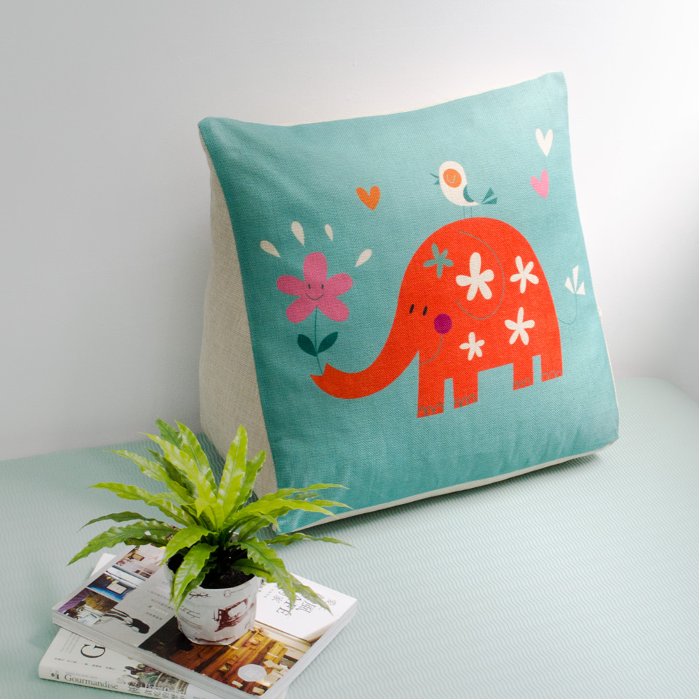 【收納職人】Zakka日系雜貨風手感棉麻織紋舒壓三角抱枕/靠枕/腿枕 (綠底小花象)