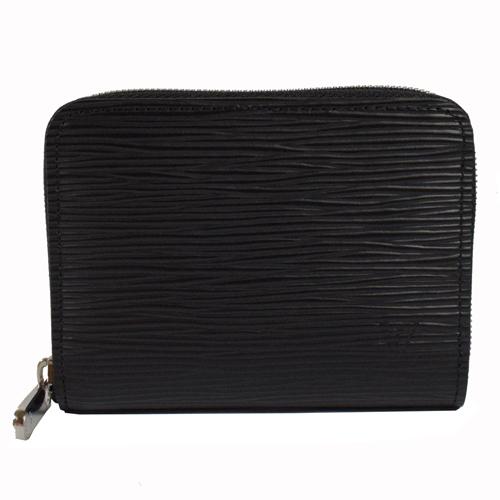 LV M60152 EPI 質感皮革壓紋信用卡拉鍊零錢包.黑