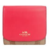COACH 馬車防刮三折短夾/零錢袋(卡其玫瑰)F53837