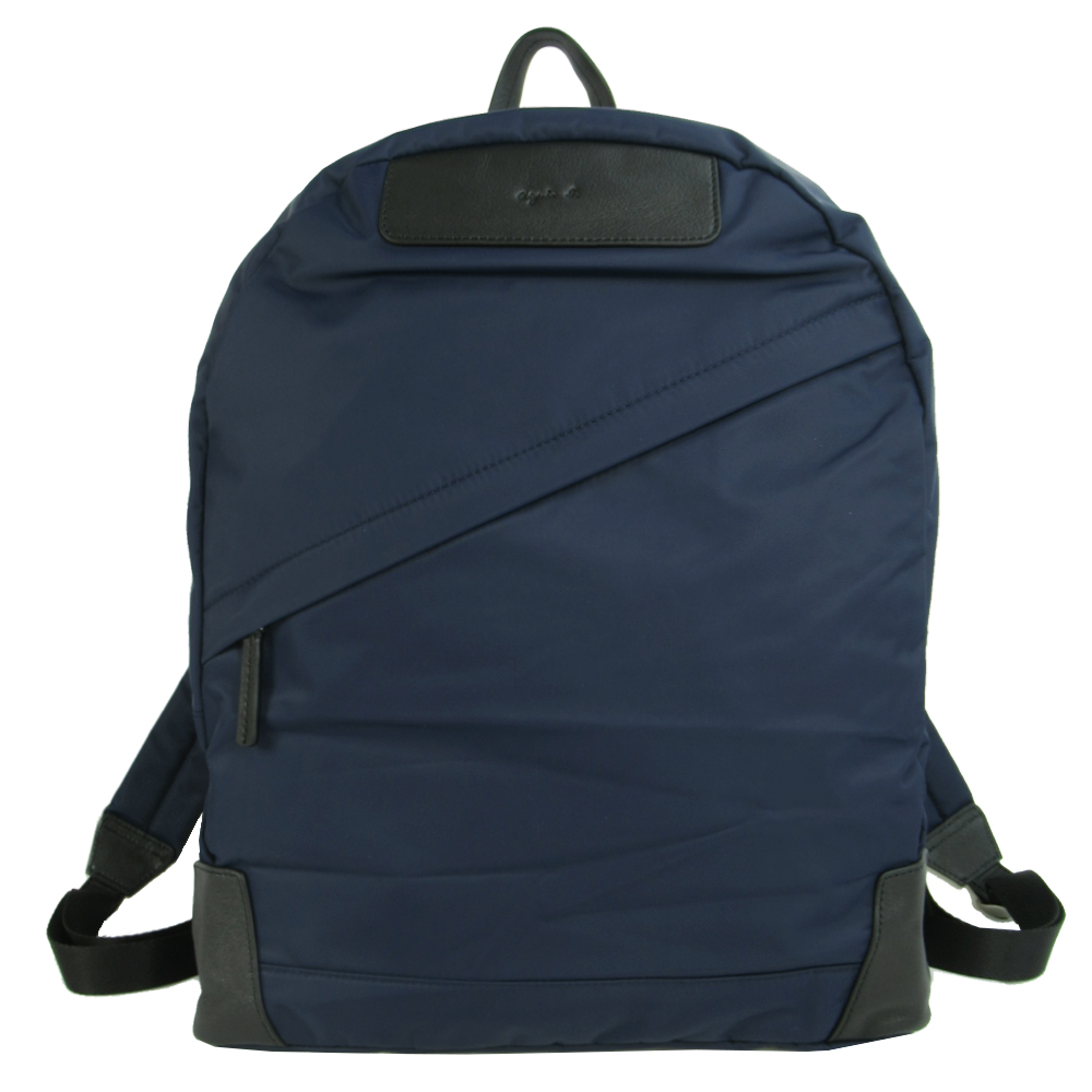 agnes b.皮標LOGO印尼龍後背包(深藍)