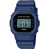 CASIO 卡西歐 G-SHOCK 丹寧電子錶-深藍 DW-5600DE-2ADR