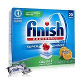美國 FINISH 洗碗機專用-強效洗碗碇(柑橘香) 20入/盒