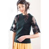 日本ANNA LUNA 預購-刺繡蕾絲透膚寬袖針織上衣(共三色/M-LL)