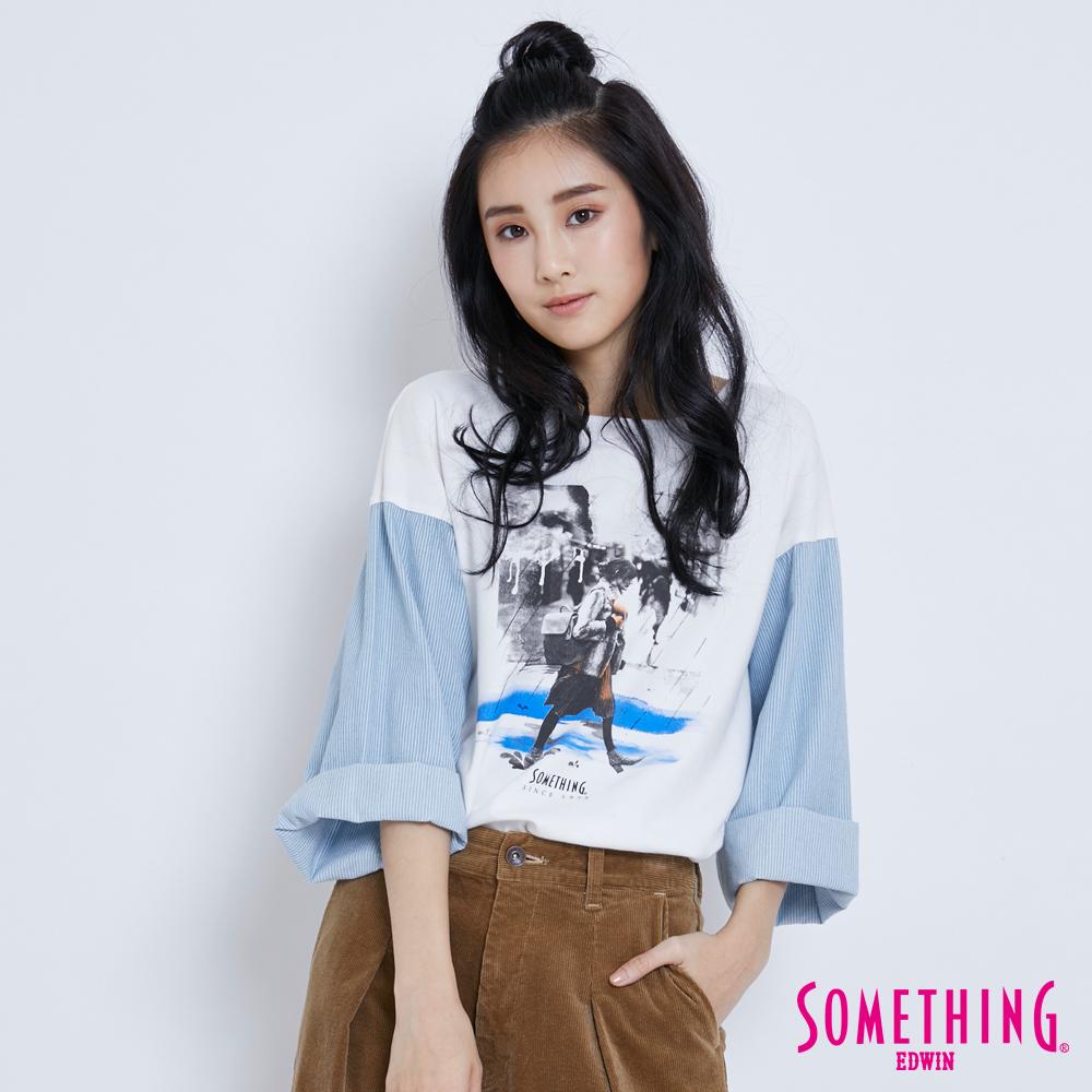 SOMETHING 相片印花寬版T恤-女-白色