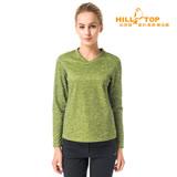【hilltop山頂鳥】女款ZISOFIT吸濕V領刷毛上衣H51FH3綠