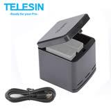 TELESIN 收納式 三充電池充電盒 for GoPro 7 6 5 (含充電線)