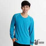 【遊遍天下】 台灣製男款 吸濕排汗機能圓領長衫(品特 湛藍)