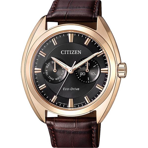 CITIZEN 星辰 Eco-Drive光動能日曆手錶-玫瑰金框x咖啡/ 43mm BU4018-11H