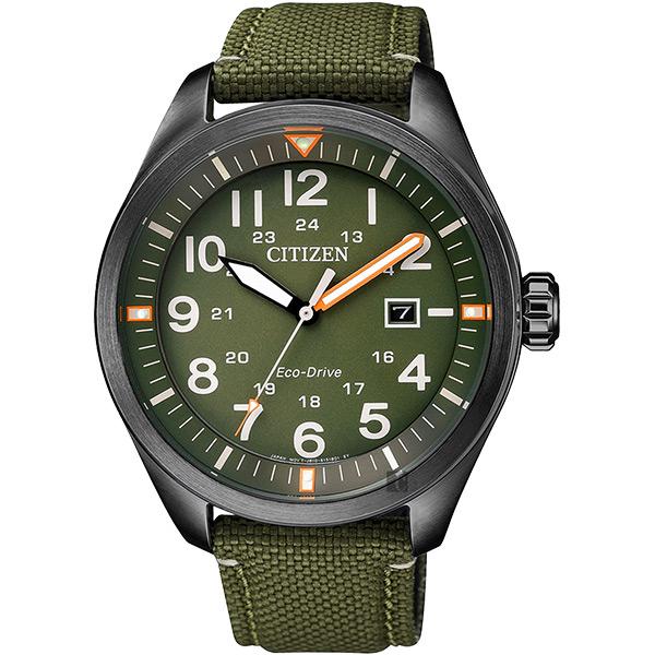 CITIZEN 星辰 Eco-Drive 光動能飛行員手錶-綠/ 43mm AW5005-21Y