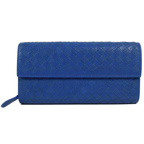 BOTTEGA VENETA 150509 經典手工編織小牛皮扣式長夾.藍