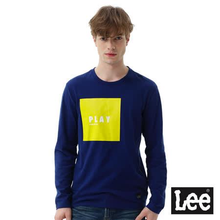 Lee方形膠印與直絨長袖圓領TEE