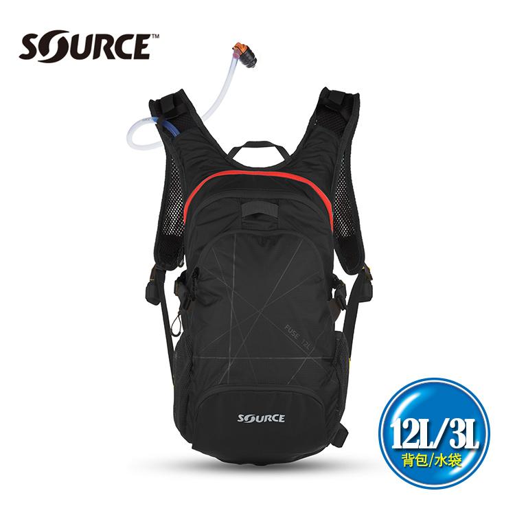 SOURCE 戶外健行水袋背包Fuse2051922202  12L 水袋3L 黑 紅   城市綠洲  戶外、登山、補水、抗菌