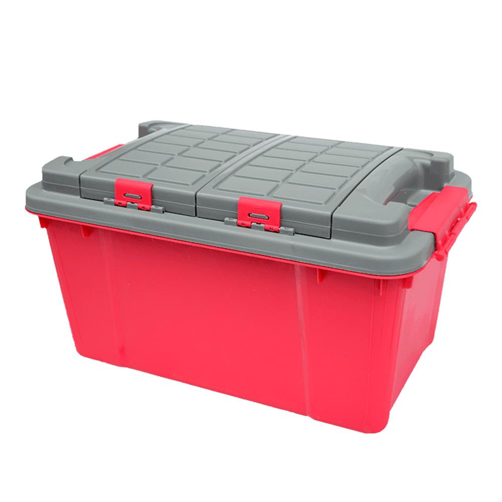 威力鯨車神 專業雙層分隔設計汽車收納箱 工具箱 時尚紅