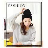 【PS Mall】帽子個性貓咪耳朵黑色毛線帽 (G2350)