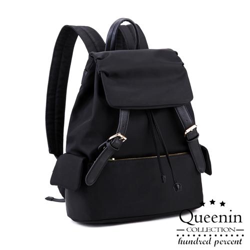 DF Queenin日韓 - 韓版人氣尼龍雙皮飾後背包