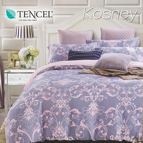 《KOSNEY 淡淡的愛戀》特大100%天絲TENCEL四件式兩用被床包組