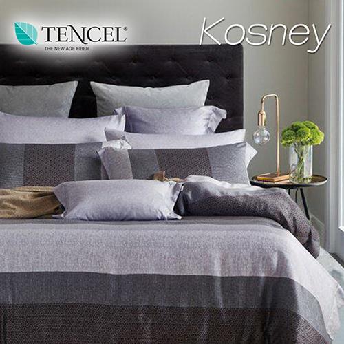 《KOSNEY 麻趣布洛灰》特大100%天絲TENCEL四件式兩用被床包組