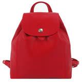LONGCHAMP Le Pliage Cuir系列皮革後背包(小/紅)