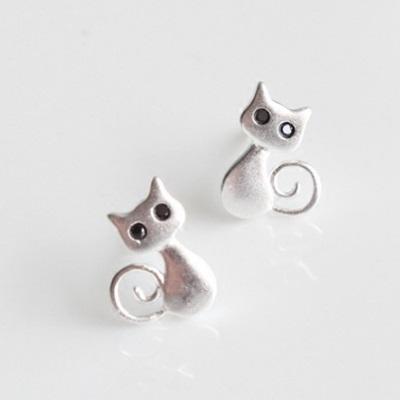 925純銀耳環耳針式耳環-可愛小貓 母親節生日情人節 女飾品73ag267【米蘭 】