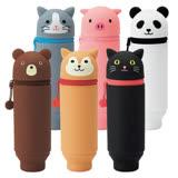 LIHIT LAB. 【功能筆袋系列 A-7712 多功能圓型筆袋(動物造型) 圓型筆袋】