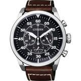 CITIZEN Eco-Drive 領導風範光動能計時手錶-黑x咖啡 CA4210-16E