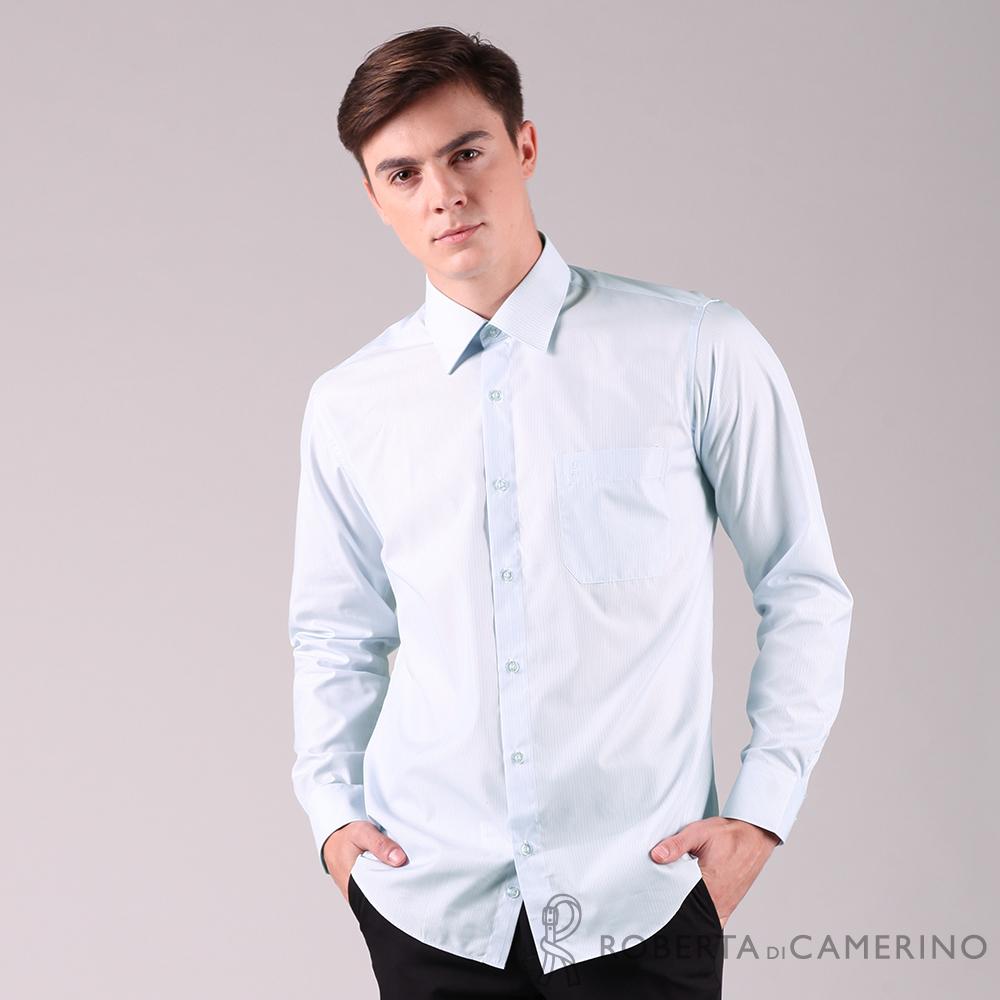 ROBERTA諾貝達 台灣製 合身版 職場必備 細條紋長袖襯衫 淺藍