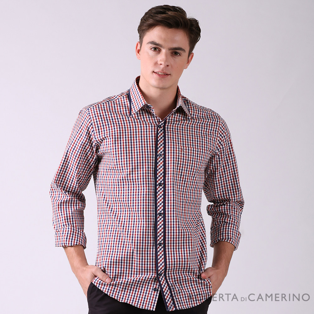 ROBERTA諾貝達 進口素材 台灣製 合身版 純棉休閒格紋長袖襯衫 紅色
