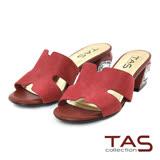 TAS 鏤空剪裁幾何水鑽後跟涼拖鞋-復古紅